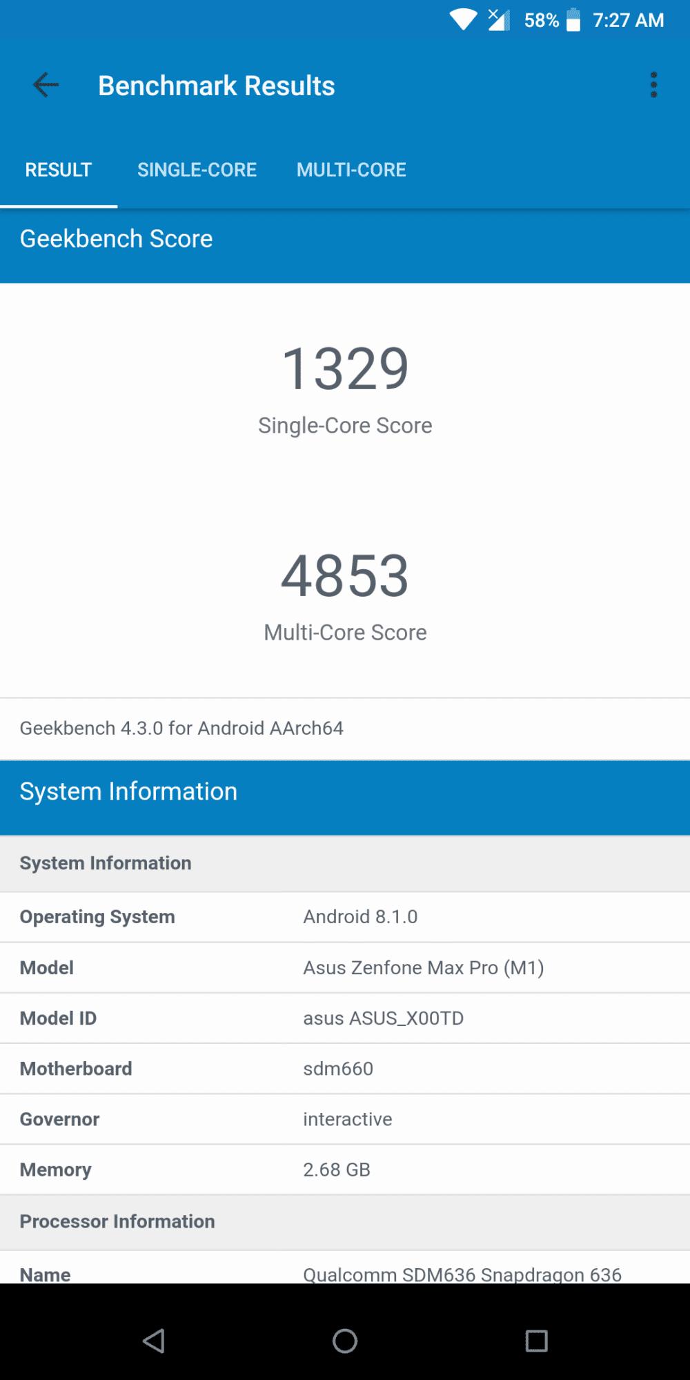 ZenFone Max Pro M1 GeekBench