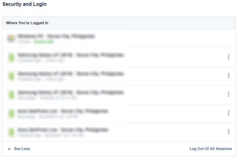 Facebook Account Activity