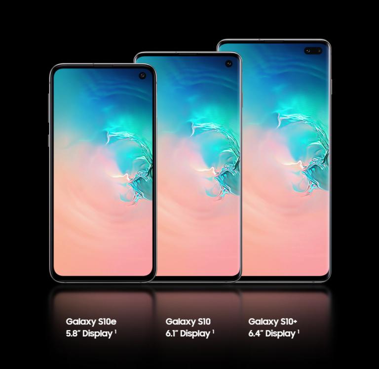 Samsung Galaxy S10, S10+, and S10e display