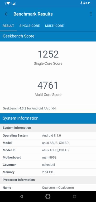 Zenfone Max M2 GeekBench 4