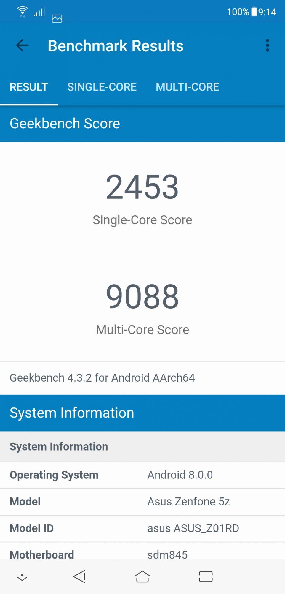 Zenfone 5z Geekbench 4