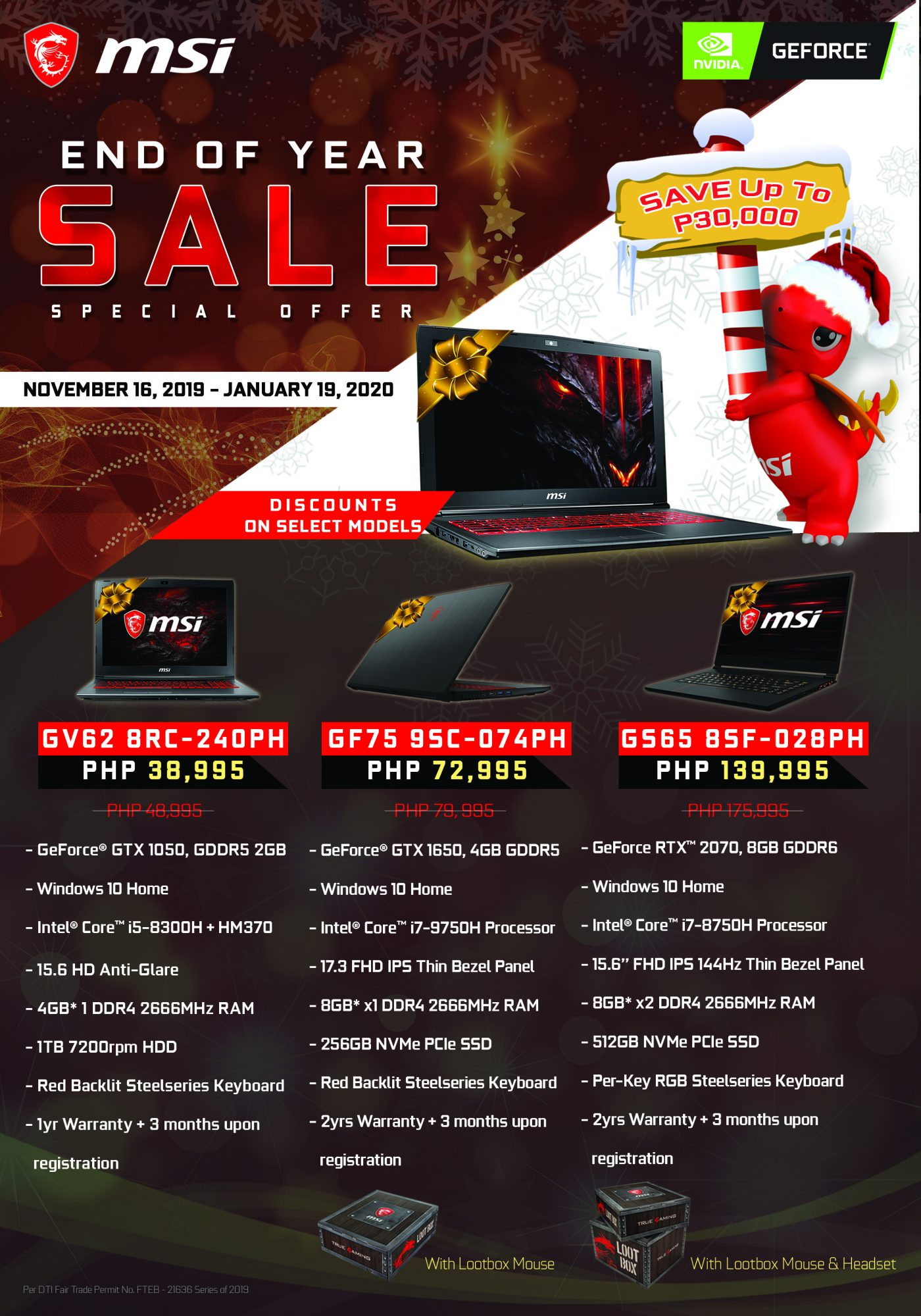 MSI End of Year Sale Promo