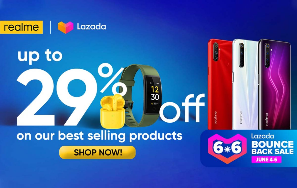Up to 29% Off on realme Products this Lazada 6.6 Bounce Back Sale