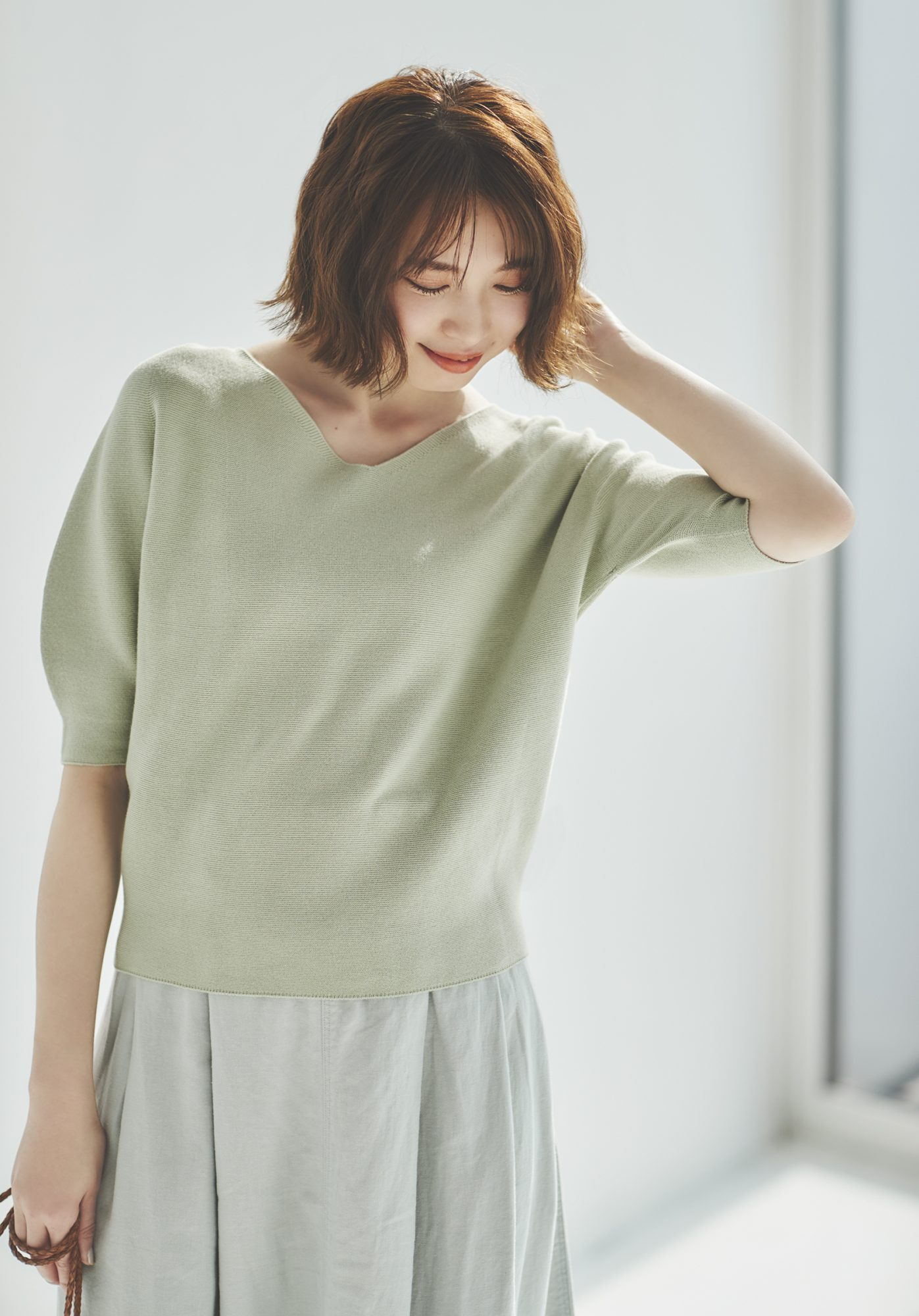 3D Cotton V Neck Puff Half Sleeve Sweater