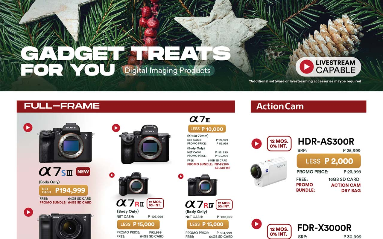 Up to 25% Off on Sony Philippines Devices on their Holiday Gadget Treats