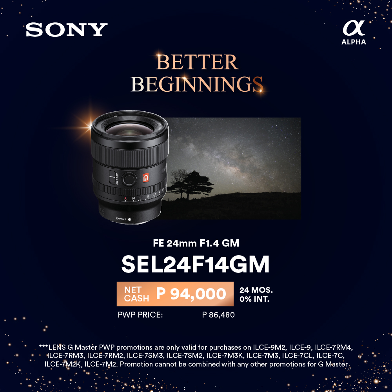 Sony G Master SEL24F14GM promo