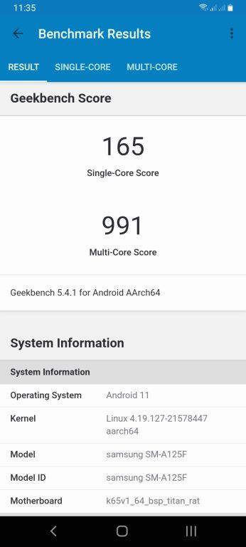 Samsung Galaxy A12 GeekBench 5
