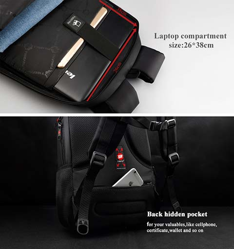 Laptop Compartment + Hidden Back Pocket